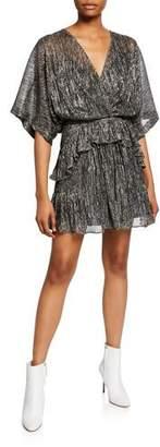 IRO Spina Metallic Ruffle Dolman-Sleeve Dress