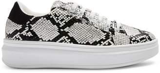 Topshop Cuba Snakeskin-Print Platform Sneakers