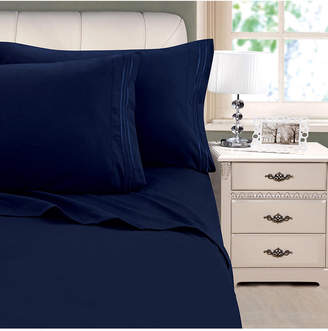 Cathay Home Inc. 3-Line Stripe Embroidery 4-Pc. King Sheet Set Bedding