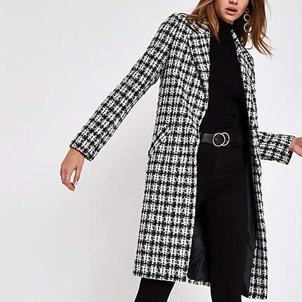 Womens White check boucle longline coat