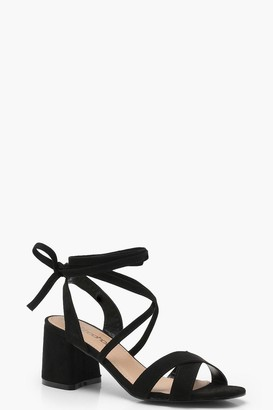 boohoo Emily Wide Fit Cross Strap Ankle Wrap Heels