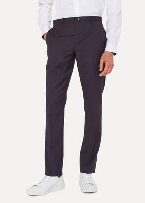 Paul Smith Men's Mid-Fit Navy Check Wool-Blend Pants
