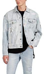 Ksubi Men's Oh G Appliquéd Bleached Cotton Denim Jacket - Lt. Blue