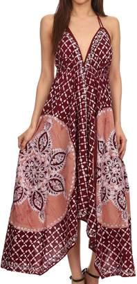 Sakkas 1456 - Shana Batik Embroidered Handkerchief Hem Adjustable Halter Dress - OS