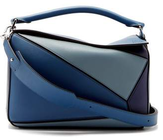 Loewe Puzzle Tri Colour Leather Bag - Womens - Blue Multi