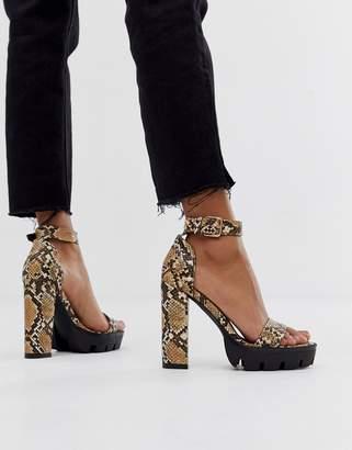 Simmi Shoes Simmi London Jordan snake chunky heeled sandals