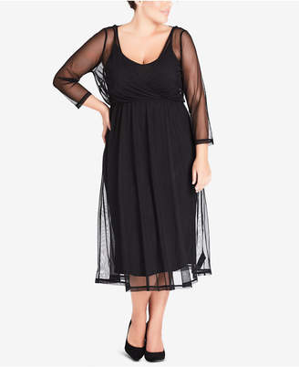 City Chic Trendy Plus Size Ribbon-Neck Draped Dress