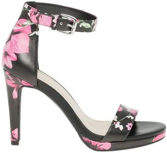 Le Château Women's Floral Leather-Like Ankle Strap Heeled Sandal