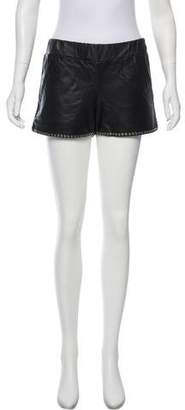 Anine Bing Leather Studded Shorts