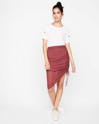 Express Ribbed Side Ruched Mini Skirt