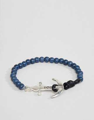 ICON BRAND Navy Beaded Bracelet With Anchor Closure