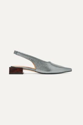 Ganni Metallic Leather Slingback Pumps - Silver