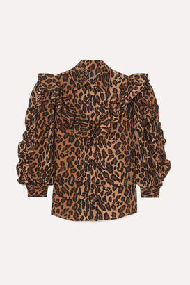 Miu Miu Ruffled Leopard-print Silk-georgette Blouse - Brown