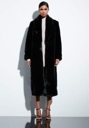 Missguided Black Faux Fur Maxi Coat