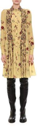 Valentino Beaded Floral-Print Shirtdress, Yellow