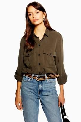 Topshop Womens Utility Double Pocket Shirt