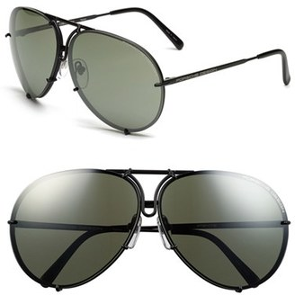Men's Porsche Design 'P8478' 66Mm Aviator Sunglasses - Black Matte $500 thestylecure.com