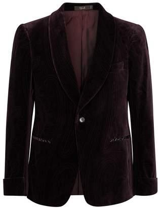 Cifonelli Burgundy Velvet-jacquard Jacket