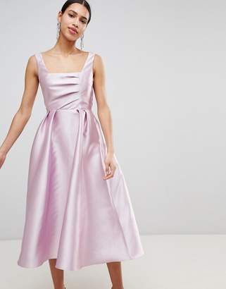 Asos (エイソス) - ASOS DESIGN Structured Prom Midi Dress With Square Neck