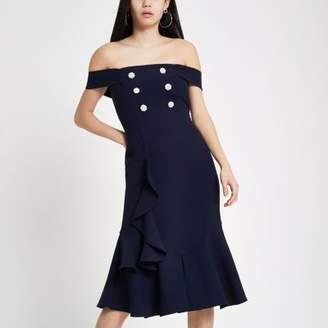 River Island Womens Navy pearl embellished bardot bodycon dress