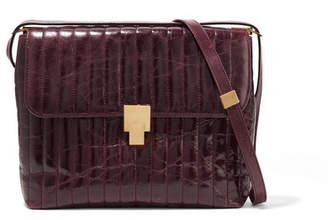 Victoria Beckham Quinton Quilted Glossed Creased-leather Shoulder Bag - Burgundy