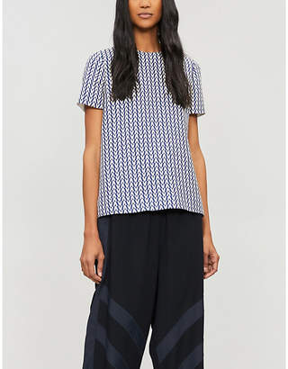 Valentino V-print wool and silk-blend top
