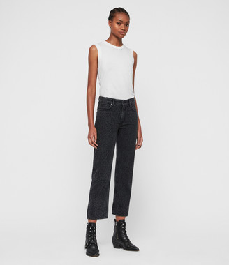 AllSaints Ava Leopard Straight High-Rise Jeans, Washed Black