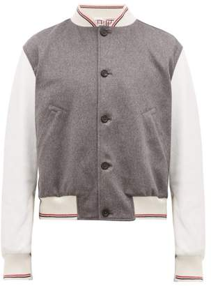Thom Browne Cashmere And Leather Bomber Jacket - Mens - Grey