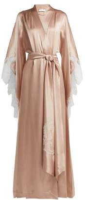 Carine Gilson - Lace Embroidered Silk Satin Robe - Womens - Light Pink