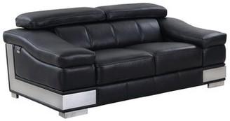 Orren Ellis Hawkesbury Common Leather Loveseat Orren Ellis