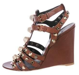 Balenciaga Stud-Embellished Wedge Sandals w/ Tags