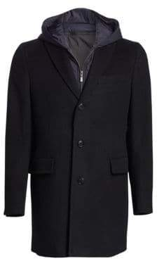 Saks Fifth Avenue MODERN Peacoat with Nylon Hooded Vest