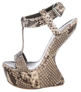 Giuseppe Zanotti Snakeskin Peep-Toe Wedge Sandals