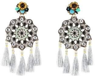 Mercedes Salazar Embellished Tassel Chandelier Earrings