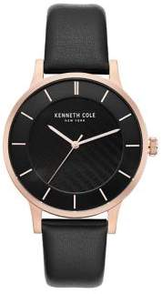 Kenneth Cole Analog Rose-Goldtone Dial Leather Strap Watch