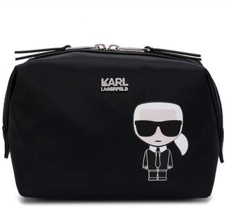 Karl Lagerfeld Paris logo print make-up bag
