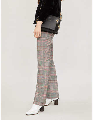 Free People Mid-rise checked woven flared trousers