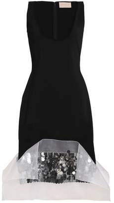 Christopher Kane Sequined Organza-Paneled Crepe Dress