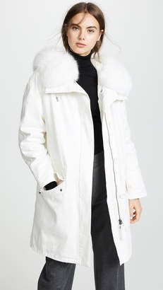 Yves Salomon Army By White Hooded Coat