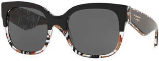 Burberry Two-Tone Plastic Square Sunglasses