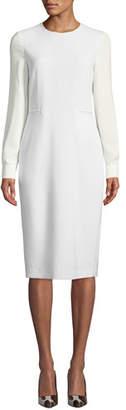 Max Mara Ottelia Georgette-Sleeve Sheath Dress