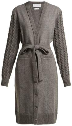 Thom Browne Cable Knit Sleeved Long Wool Cardigan - Womens - Grey