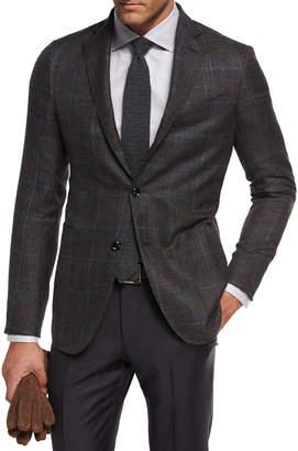 Ermenegildo Zegna Plaid Cashmere-Silk Sport Coat, Gray