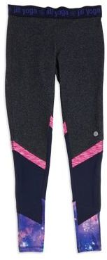 Jill Yoga Girl's Print Panel Leggings