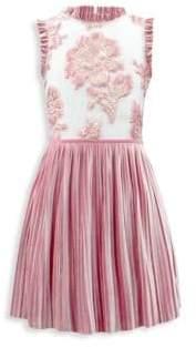 David Charles Girl's Floral Pleated Velvet Dress