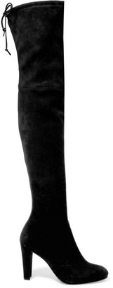 Stuart Weitzman - Highland Stretch-suede Over-the-knee Boots - Black $800 thestylecure.com
