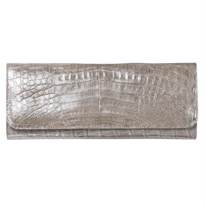 Grey Croc Classic Clutch by Rinkel