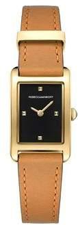 Rebecca Minkoff Moment Gold Tone Almond Leather Strap Watch, 19MMx30MM