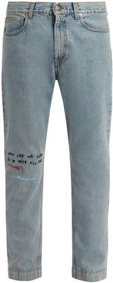 Gucci Mid-rise embroidered skinny-leg jeans