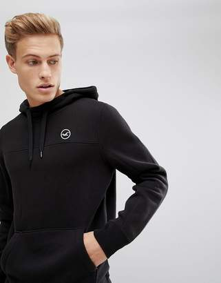 Hollister Icon Logo Hoodie In Black